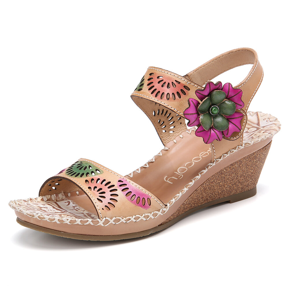SOCOFY Handmade Leather Cutout Ankle Strap Beaded Floral Stitching Mid Heel Wedge Sandals