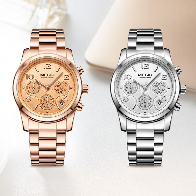 Mode s montre-bracelet en acier ceinture calendrier chronographe multifonction montre à quartz - Newchic - Modalova