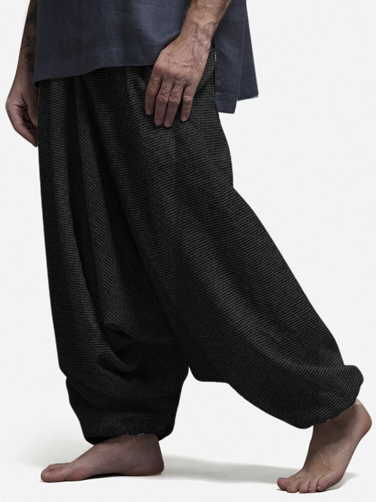 Mens Solid  Color Loose Casual Home Elastic Waist Low Crotch Harem Pants