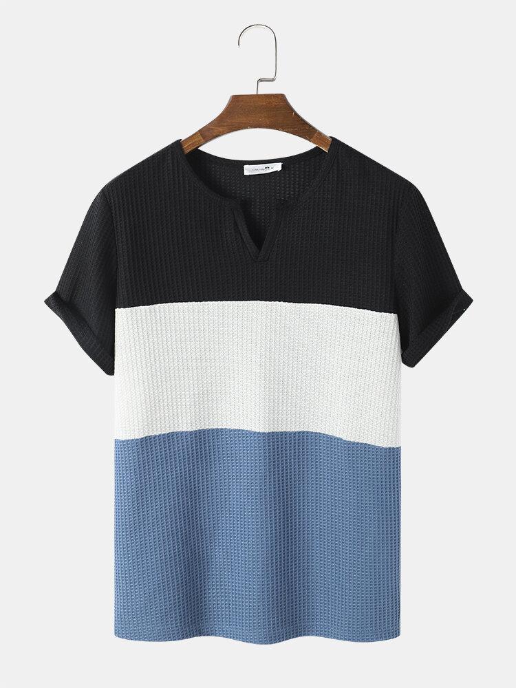 Mens Colorblock Panel Patchwork Notch Neck Waffle Knit Short Sleeve T-Shirts