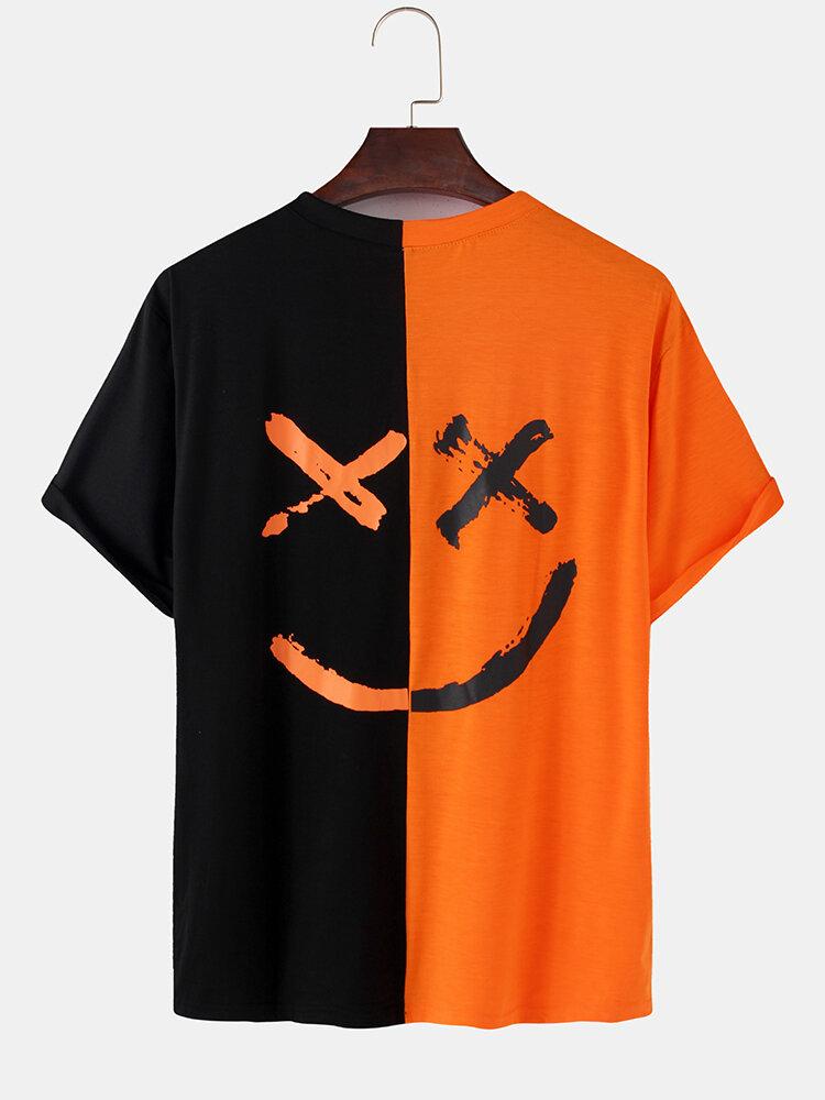 メンズコントラストパッチワークハッピーフェイスレタープリントコットンルーズ半袖Tシャツ