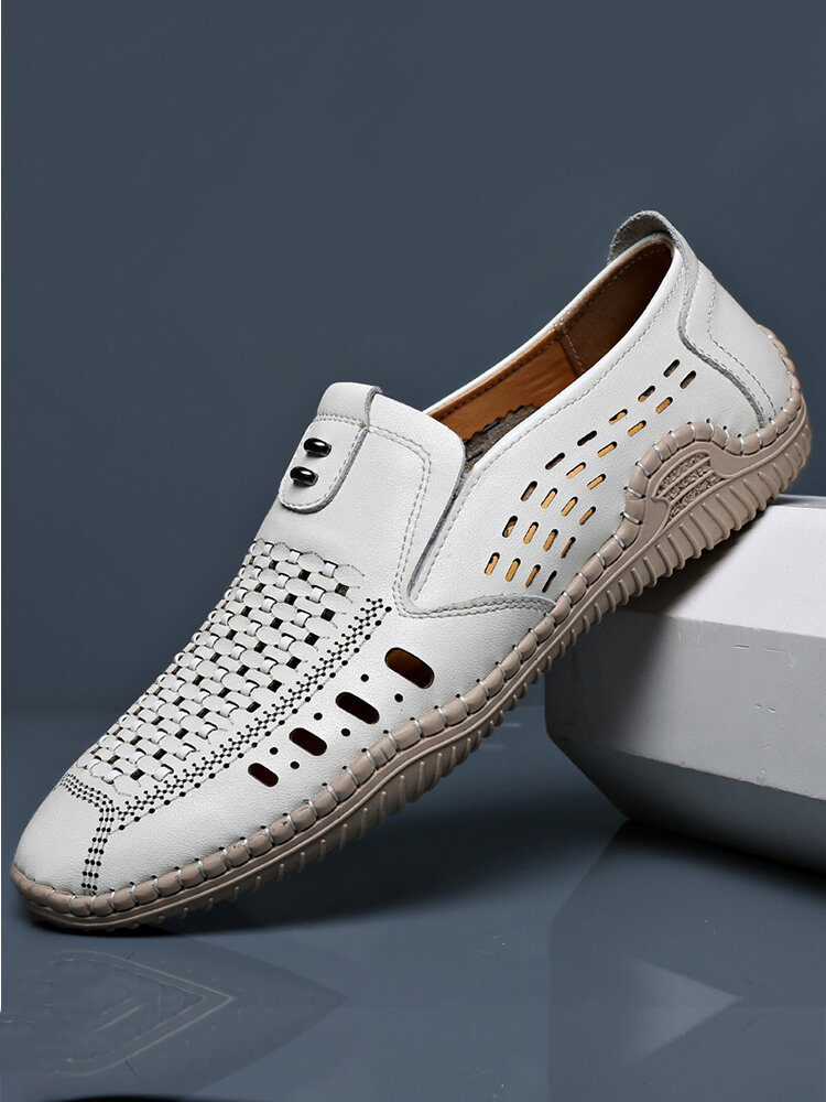 Men Woven Cow Leather Hand Stitching Driving Casual Loafers