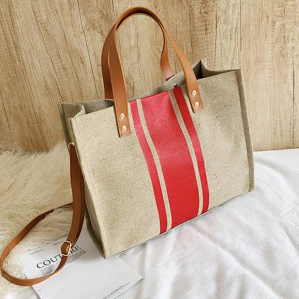 Women Canvas Stitching Color Tote Bag Handbag Shoulder Bag