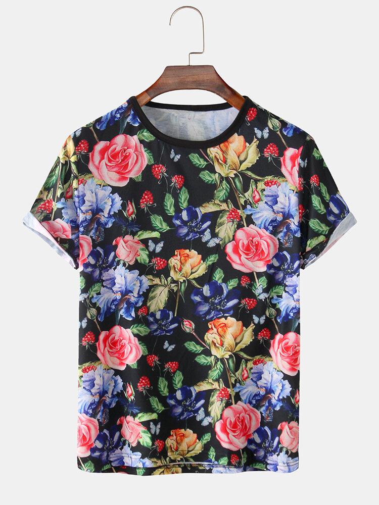 Mens Allover Floral Printed Summer Round Neck Light T-Shirt