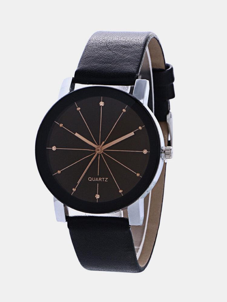 Casual Couple Quartz Wristwatch Convex Round Dial Meridian Leather Strap Watches for Women Men