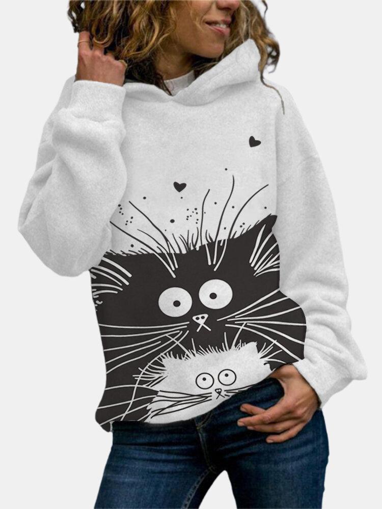 漫画猫プリント長袖Plusサイズのパーカー