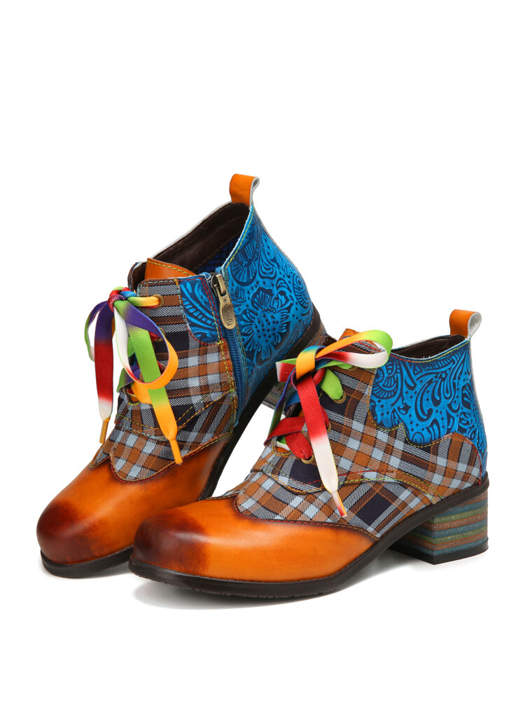 SOCOFY Retro Comfy Round Toe Leather Splicing Check Cloth Colorful Lace-up Zipper Chunky Heel Ankle Boots