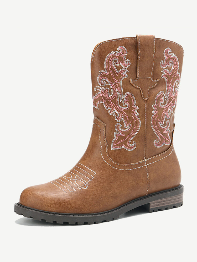 LOSTISY Embroidered Mid Claf Low Heel Knight Western Cowgirl Boots