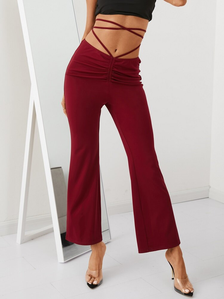 Solid Color Drawstring Knotted Casual Flared Pants For Women