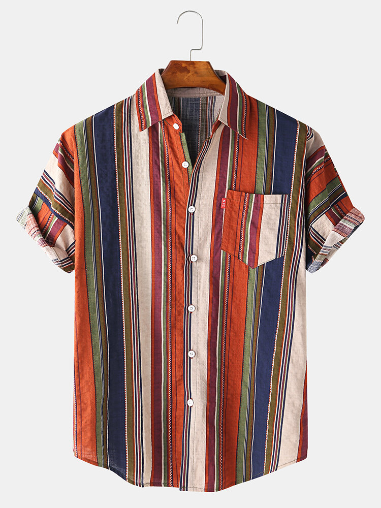 Mens Ethnic Colorful Vertical Stripe Printed Holiday Casual Short Sleeve Shirt