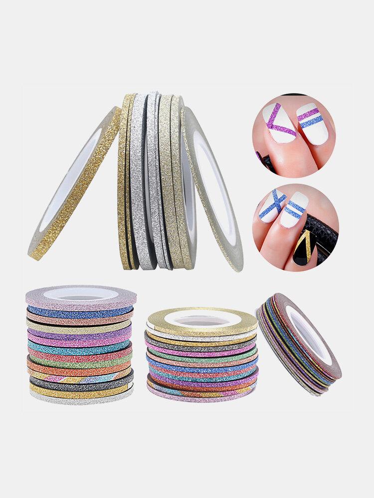 Glitter Nail Art Tape Line Strips Striping Decoration For UV Gel Polish Adhesive Sticker