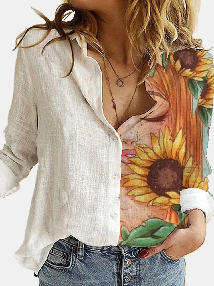 Cartoon Floral Printed Lapel Collar Button Long Sleeve Blouse