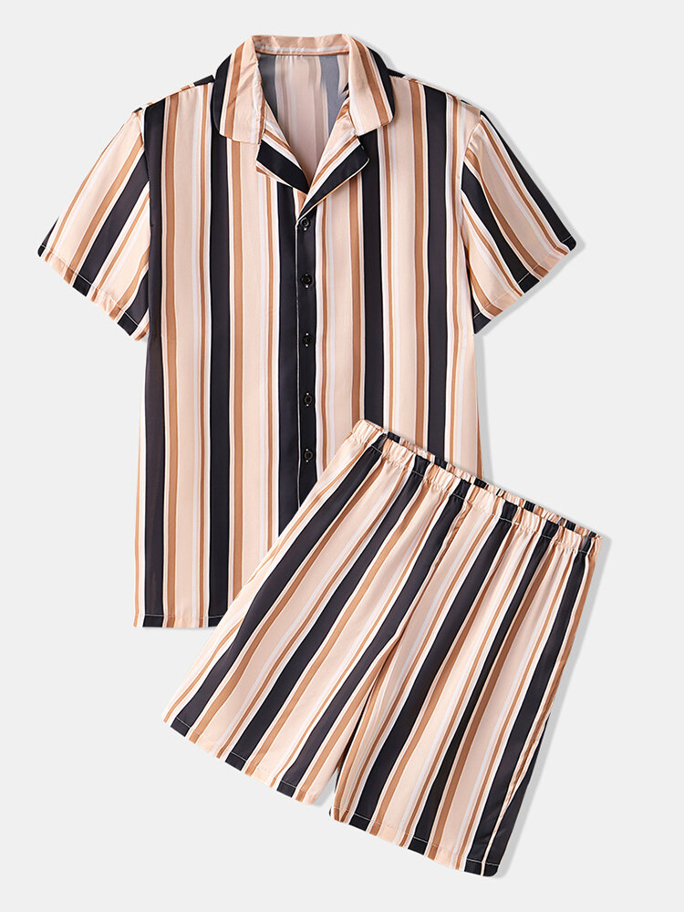Men Stripe Print Pajamas Set Faux Silk Sleepwear Home Seamless Cozy Loungewear