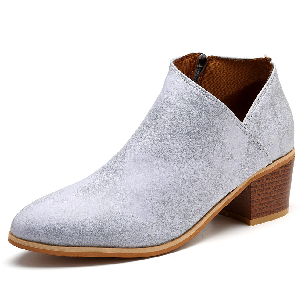 Large Size Chunky Heel Stitching Ankle Boots
