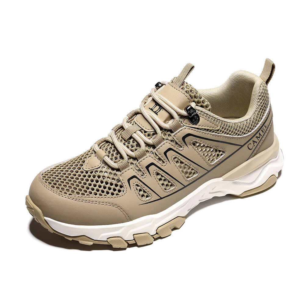 CAMEL CROWN Men Breathable-Mesh Anti-slip Lace-up Hiking Shoes