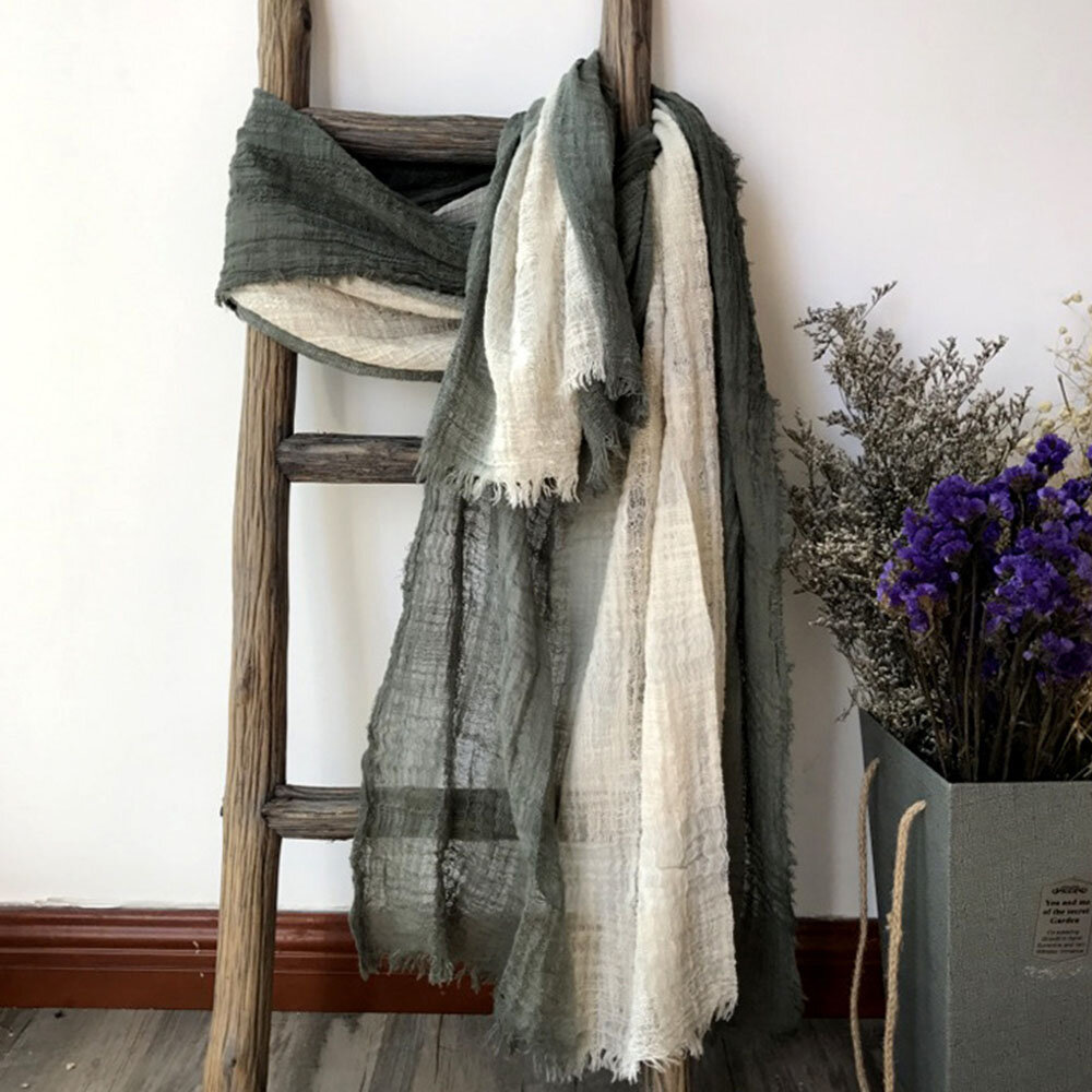 Cotton And Linen Hanging Dyeing Contrast Color Gradient Stitching Oversized Scarf Retro Literary Style Shawl Mori Female
