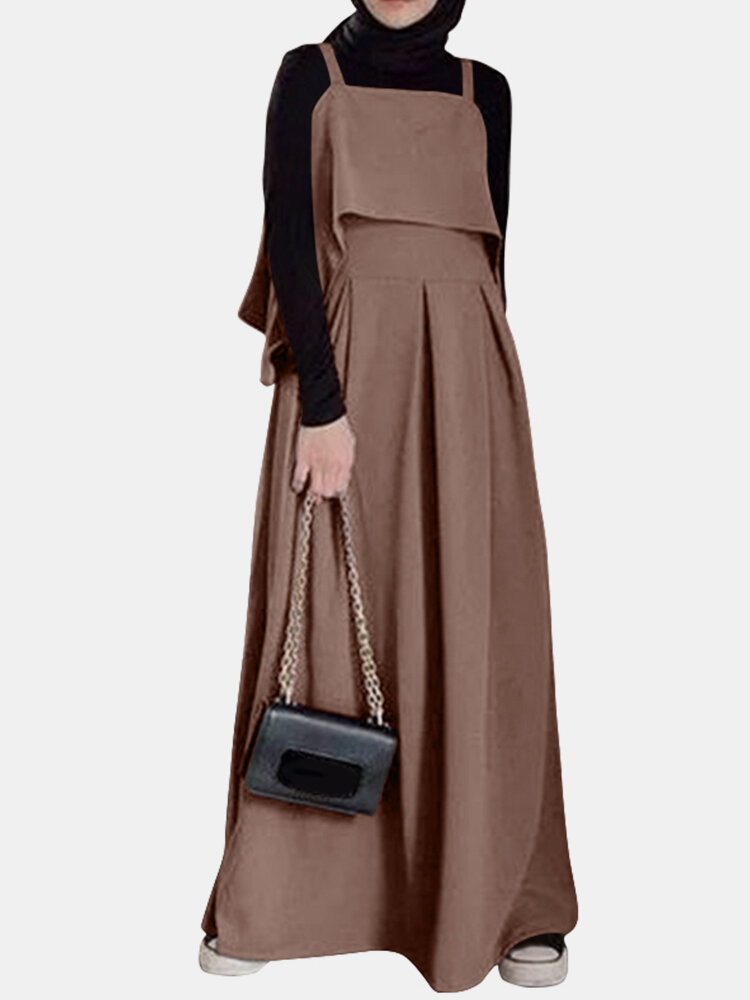 Casual Solid Color A-Line Loose Sleeveless Maxi Dress