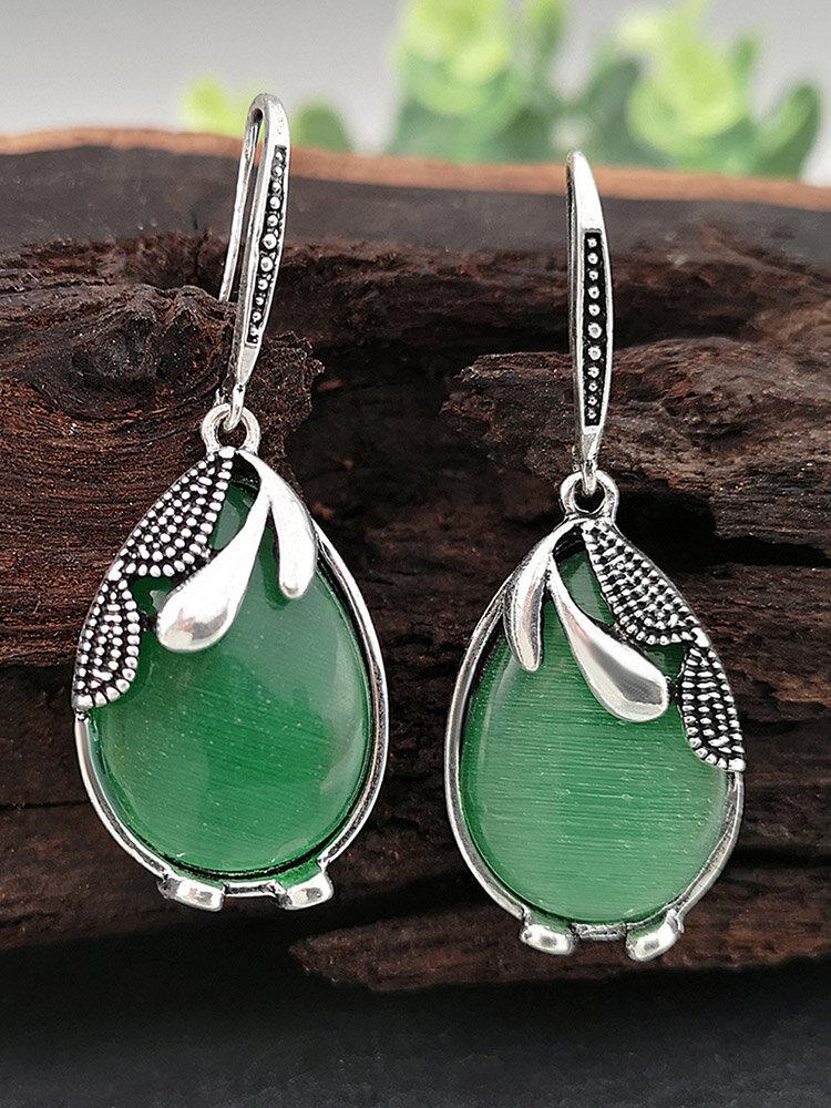 Vintage Drop-shape S925 Alloy Emerald Cat's Eye Natural Stone Earrings