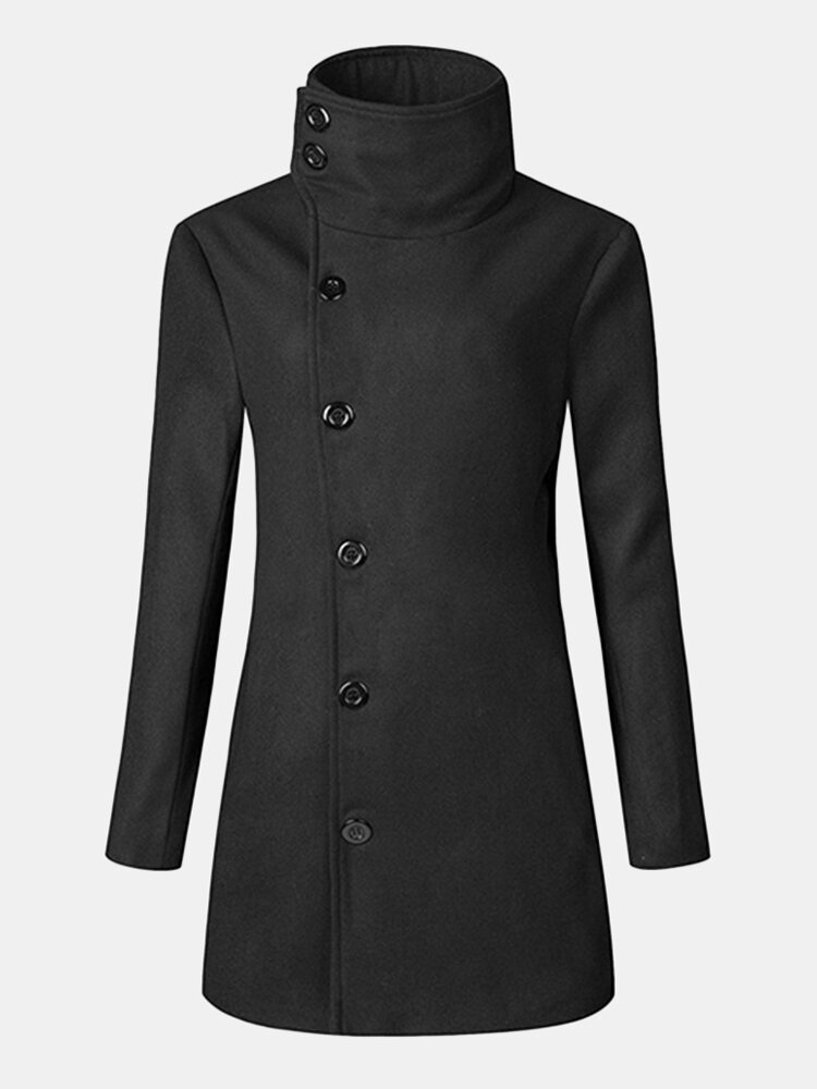 Mens Solid Slim Fit Double-breasted Turn-down Collar Trench Coat