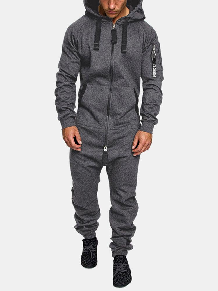 メンズフード付きジャンプスーツ全体ダブルオープンジップアップジョガーメンズカバーオールスウェットスーツ
