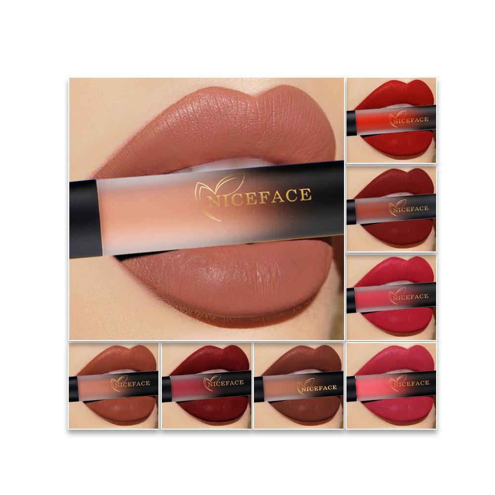 18 Colors Matte Lip Gloss Non-stick Cup Long-Lasting Non-fading Liquid Lipstick Lip Makeup