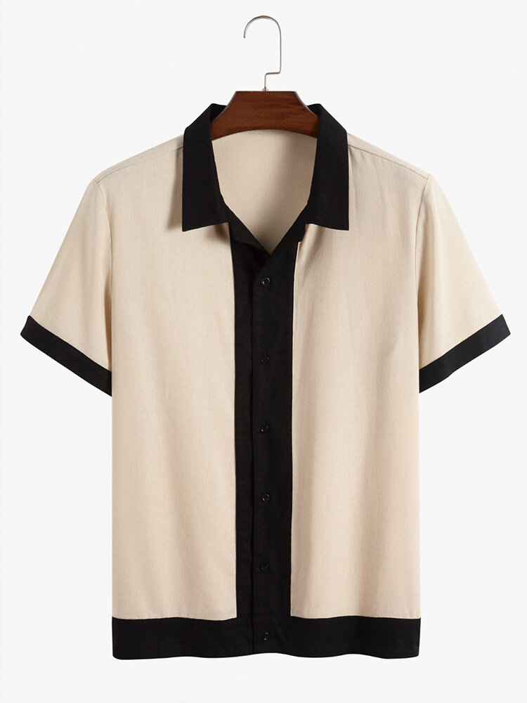Mens Contrast Trim Stitching 100% Cotton Casual Short Sleeve Shirts
