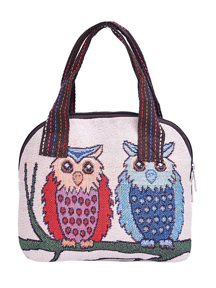 البومة حقيبة الغداء حقيبة تخزين الغداء حقيبة لطيف الحيوان نمط اليد النسيج القماش حقيبة الغداء