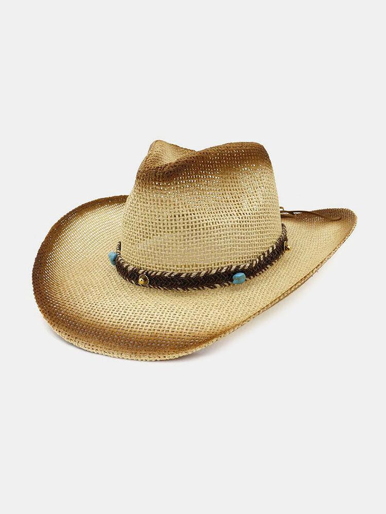 Men & Women Big Eaves Sun Hat Spray Paint Cowboy Straw Hat