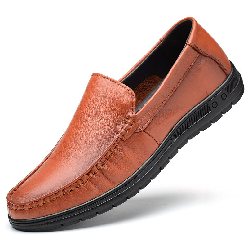 Men Pure Color Genuine leather Breathable Slip On Casaul Driving Shoes