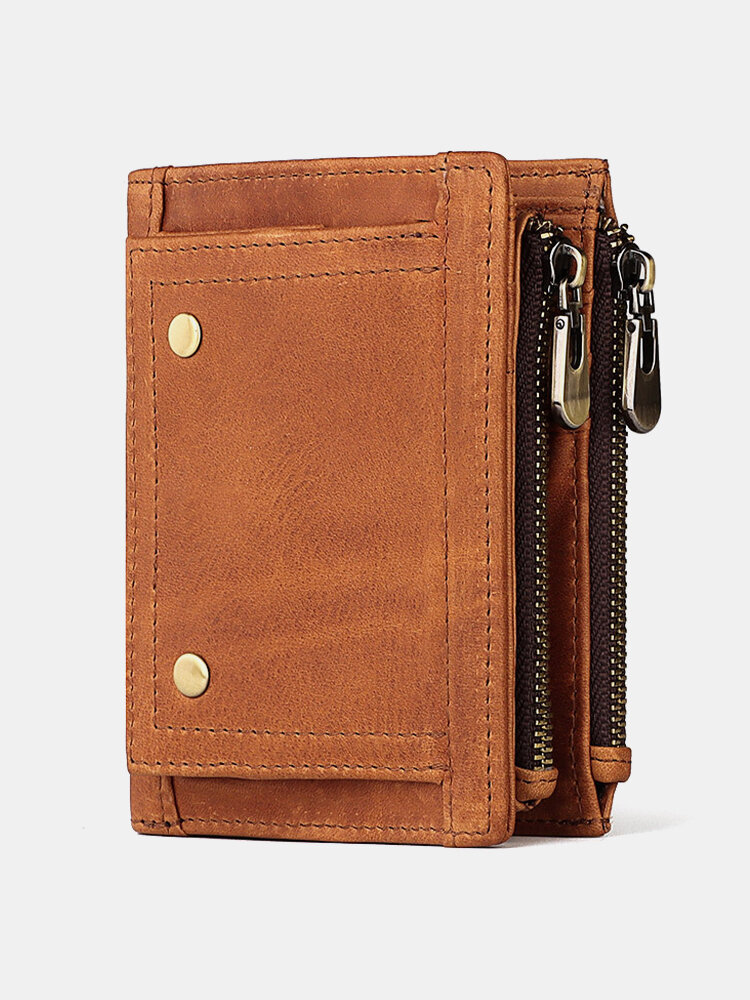 Men Genuine Leather RFID Anti-theft Multi-slot Coin Purse Large Capacity Foldable Card Holder Wallet