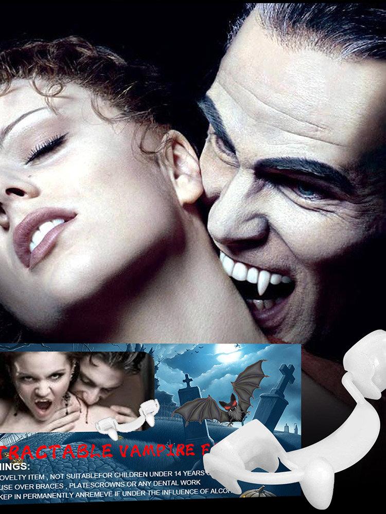 Halloween Masquerade Vampire Retractable Fangs Plastic Denture