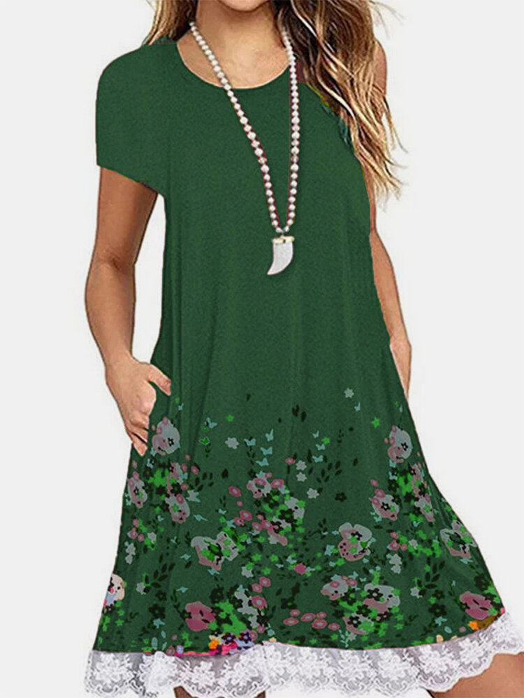 Lace Patchwork Floral Print Short Sleeve Dress For Women