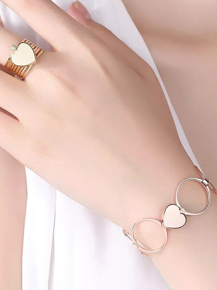 Unique Heart Finger Rings Stackable Multilayer 2 in 1 Dual Purpose Ring Bracelet for Women