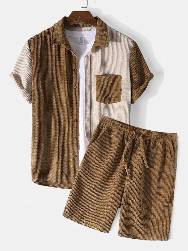 メンズコントラストカラーコーデュロイ半袖ラウンジウェアツーピース衣装