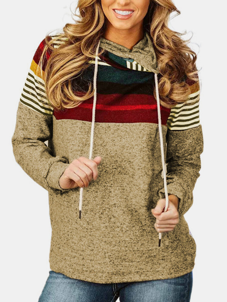 Striped Patchwork Contrast Color Casual Hoodie For Women, newchic  - buy with discount