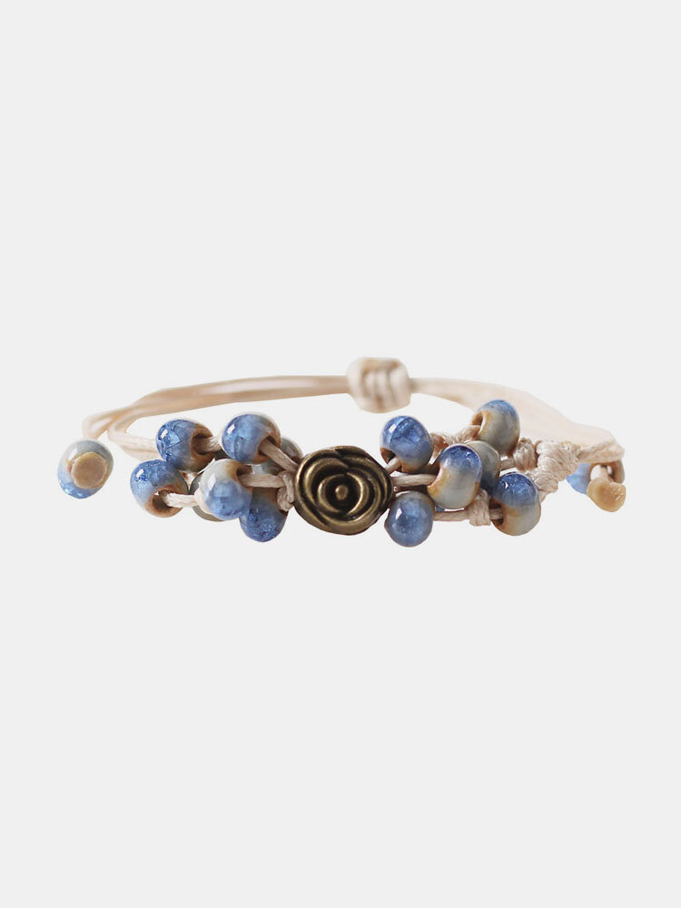 Ceramic Alloy Brown Vintage Jewelry Ceramic Bead Weaving Bracelet