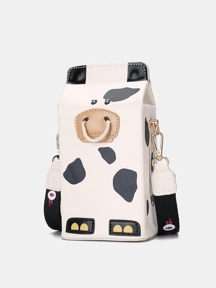 Women PU Leather Cute Cow Tiger Crossbody Bag Casual Phone Purse