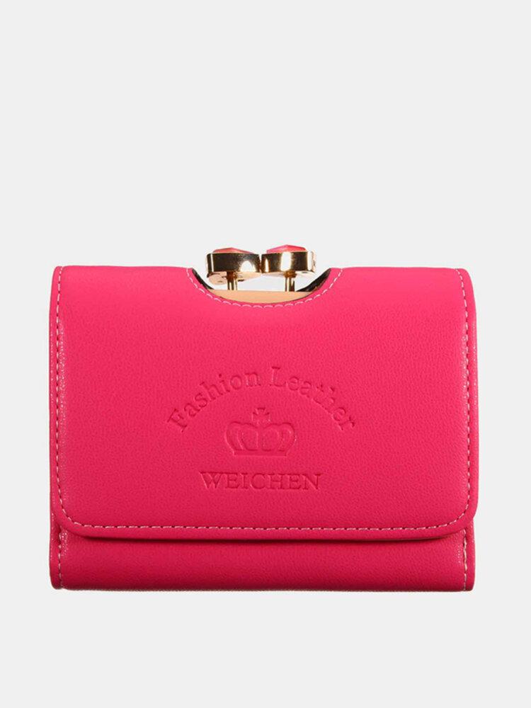 Women Short Wallet Folding Pure Color Hasp Card Holder Purse