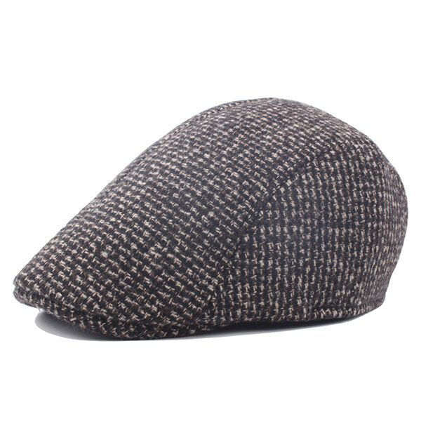 Mens Woolen Solid Gatsby Flat Thick Beret Cap Adjustable Ivy Hat Golf Driving Cabbie Hat Peaked Cap