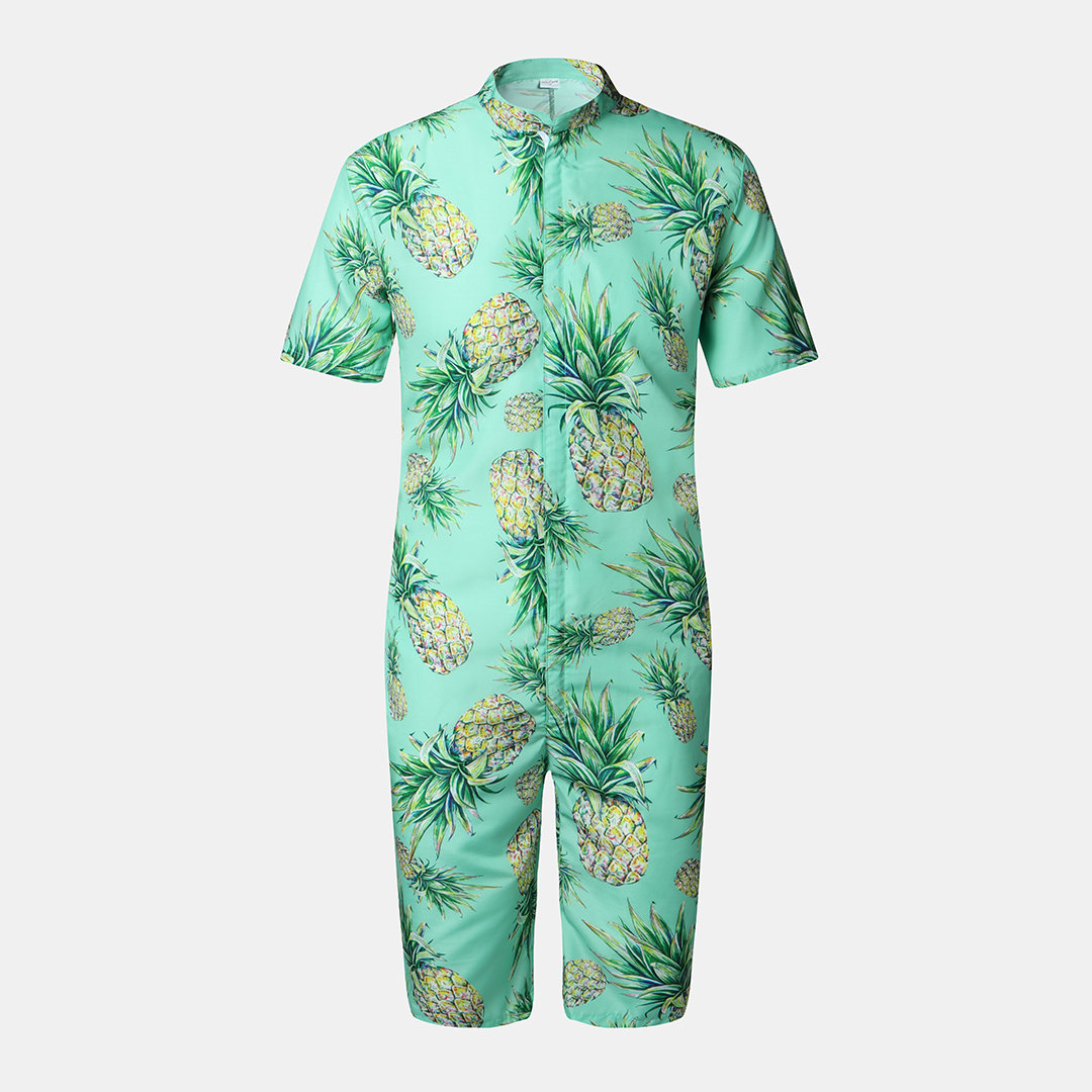 Men Hawaii Beach Print Jumpsuits Casual Short Sleeve Zipper Breathable Cotton Loungewear Cheap