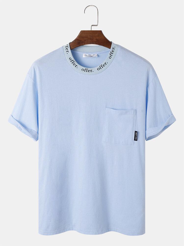 Mens Offer Crew Neck Print Chest Pocket Cotton Short Sleeve T-Shirts
