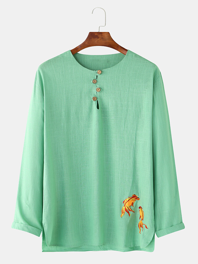 Mens Linen Koi Embroidered Print Casual Loose Long Sleeve Henley Shirts