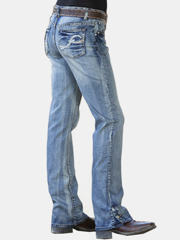 Solid Color Embroidery Pockets Casual Jeans For Women