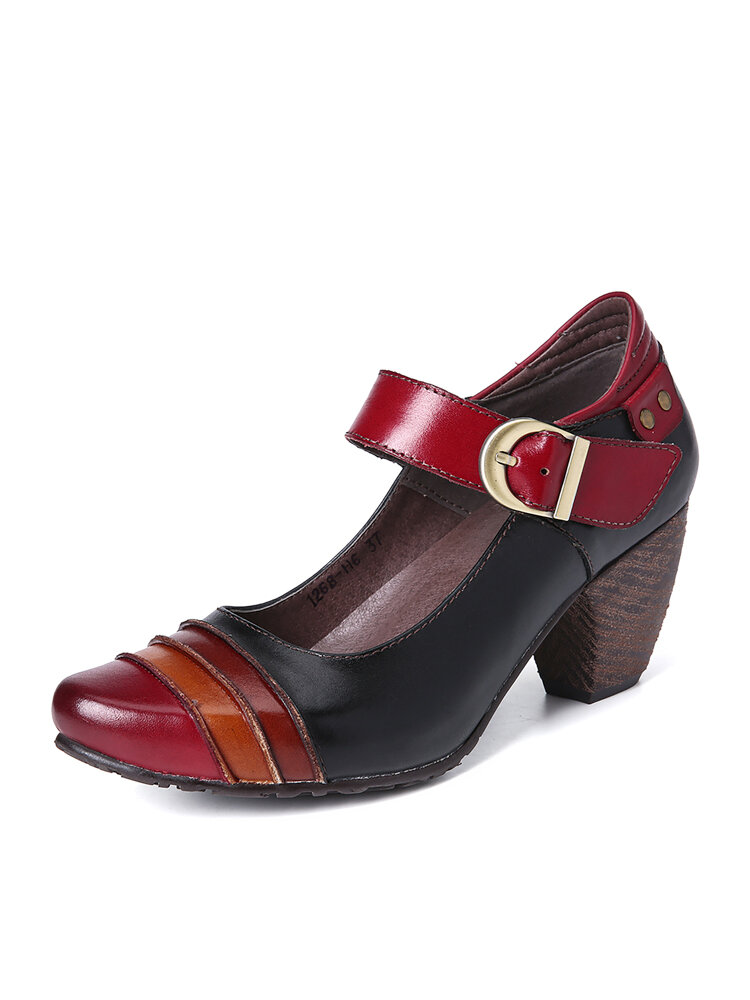 SOCOFY Retro Splicing Metal Buckle Strap Genuine Leather Easy To Match Comfy Pumps