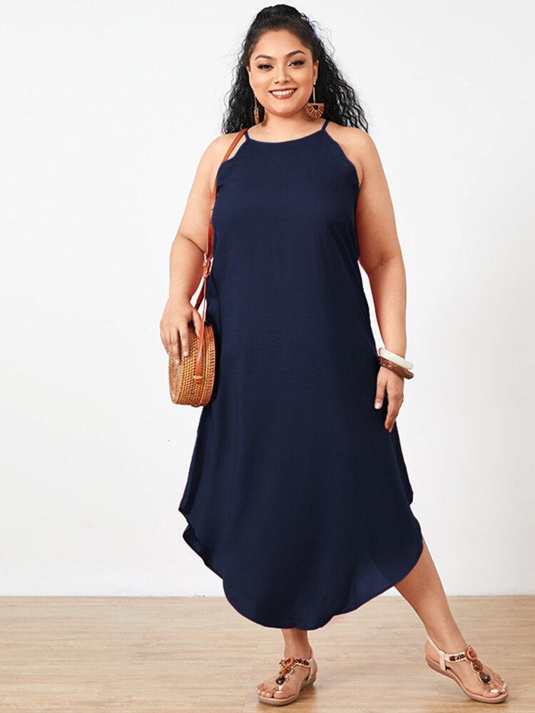 Summer Solid Color Spaghetti Straps Plus Size Maxi Dress