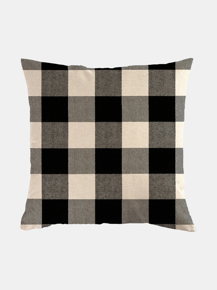 Classic Plaid Pattern Linen Cushion Cover Home Sofa Art Decor Throw Pillowcase