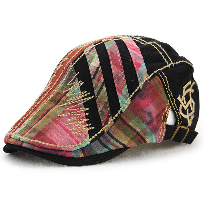 Men 100% Cotton Washed Beret Cap Lines Stripe Adjustable Buckle Newsboy Fashion Hat