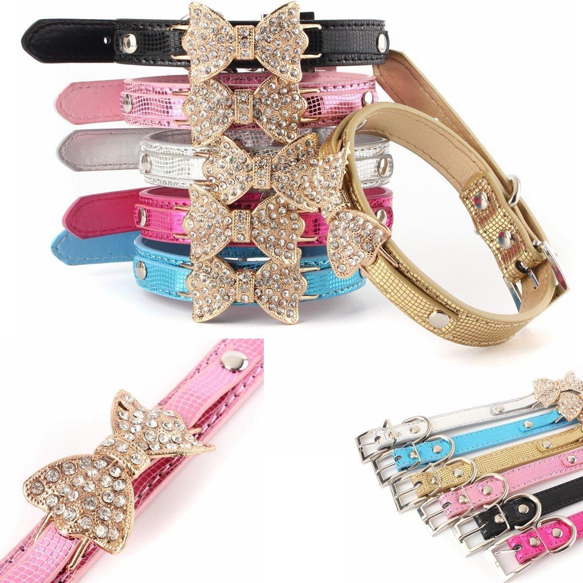 Personalised Rhinestone Diamante Crystal Bow Bling Pet Cat Dog Collar PU Leather