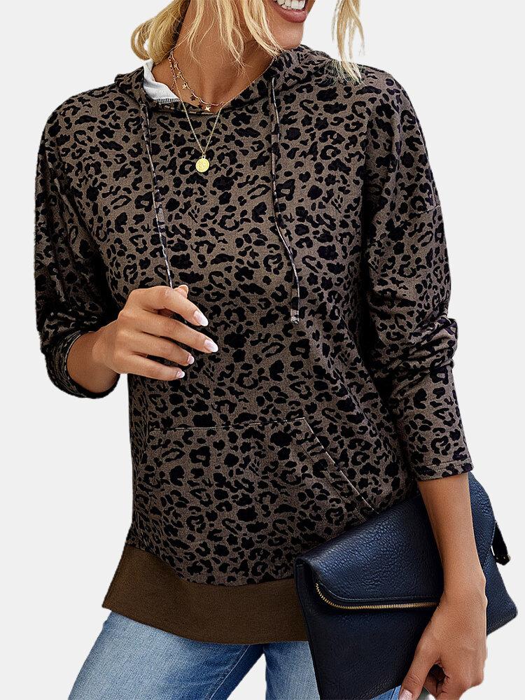 Leopard Print Long Sleeves Casual Hoodies For Women