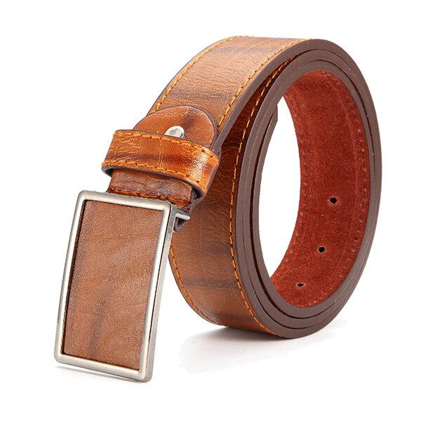 115CM Mens Business Brief Vogue Leather Belt Leisure Alloy Tablet Slide Buckle Belt